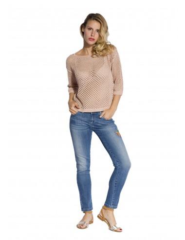 Jeans Donna Ricamo Fiore...