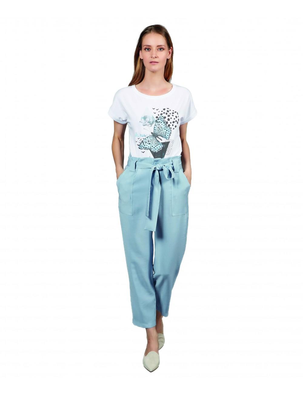 T-Shirt Donna In Cotone Manica Corta Con Stampa